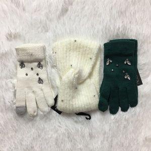 INC Gemstone 2 Tech Gloves 1 head wrap Ivory OS